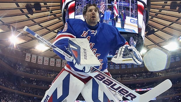 Henrik Lundqvist held of the Philadelphia Flyers in Game 1 of their opening round series on Thursday in New York. Bruce Bennett/Getty Images