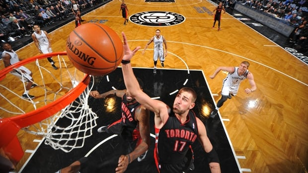 Raptors centre Jonas Valanciunas (17) dunks in a 101-97 loss to the Nets at Barclays Center in Brooklyn, N.Y., on March 10.