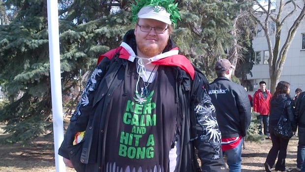 A demonstrator dressed up for the 4/20 rally at Alberta Legislature on Sunday.
