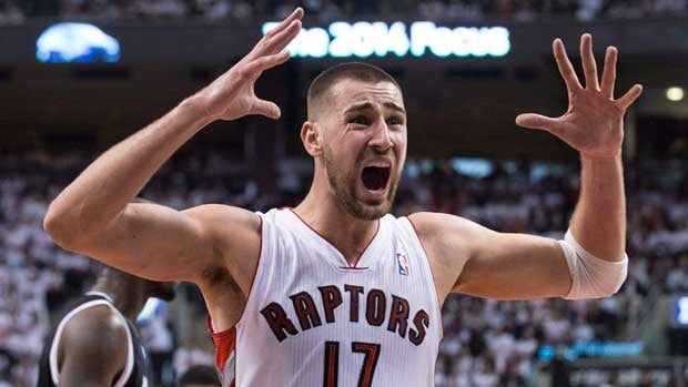 Toronto Raptors' Jonas Valanciunas reacts after being called for a foul during the opening game loss to Brooklyn.