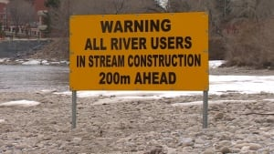 River warning sign