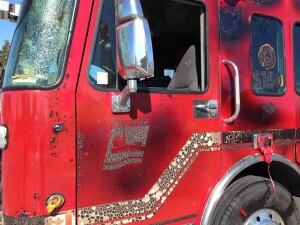 Damaged fire truck