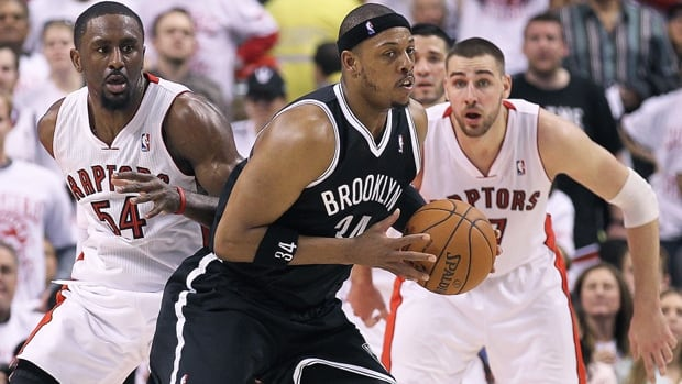 Paul Pierce (34) of Brooklyn is averaging 11.0 points on 33 per cent shooting from the field against Toronto so far in the series.