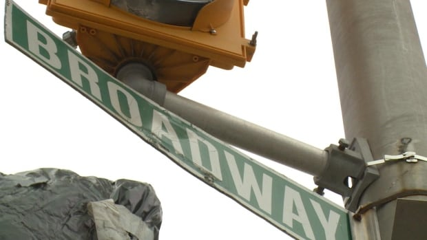 Broadway street sign in Corner Brook