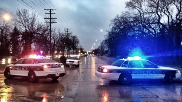 Police block Main Street Thursday morning after a crash between a car and a hydro pole.
