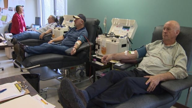 These donors rolled up their sleeves at Canadian Blood Services in St. John's on Wednesday.