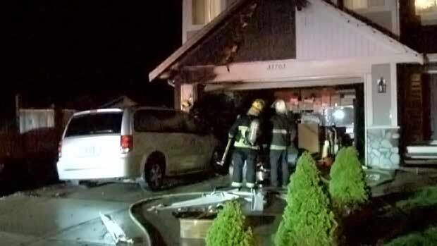 Mission firefighters put out one of the fires that spread to the front of a house.