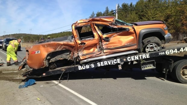 A single-vehicle collision near Coniston involved a pick-up truck. A four year old was sent to hospital. One lane of the road was opened to traffic before noon.