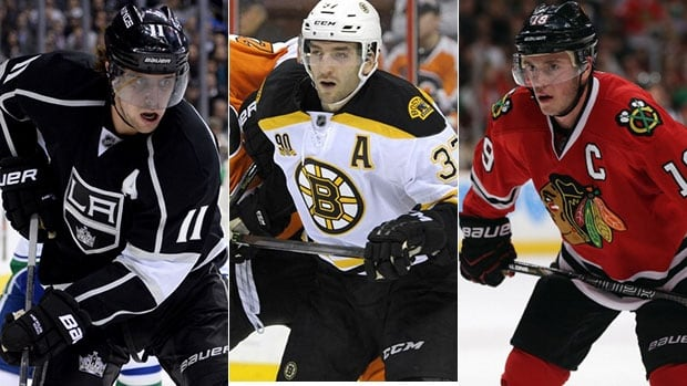 Patrice Bergeron, centre, Anze Kopitar, left, Jonathan Toews were voted Selke Trophy finalists on Thursday.