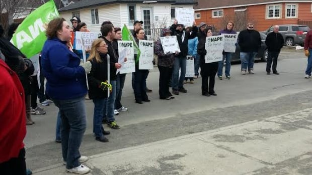 A group of NAPE workers and supporters demonstrated outside MHA Susan Sullivan's office in Grand Falls-Windsor on Thursday.