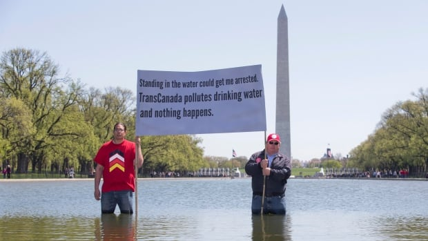 Wizipan Little Elk, left, of the Rosebud Sioux Tribe and farmer Art Tanderup were among the protesters demonstrating their opposition to the Keystone XL pipeline in and around the reflecting pool on the National Mall in Washington on Thursday.