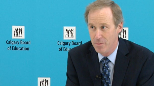 Brad Grundy, chief financial officer at the Calgary Board of Education, speaks to reporters about student fees at a briefing on Thursday.