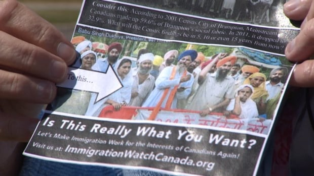 The flyer by Immigration Watch Canada questions the racial direction of Brampton, Ont.'s population. The group said it plans to distribute more flyers in other communities.
