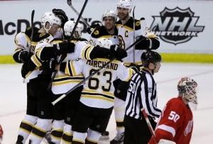 Bruins celebrate Game 4 win