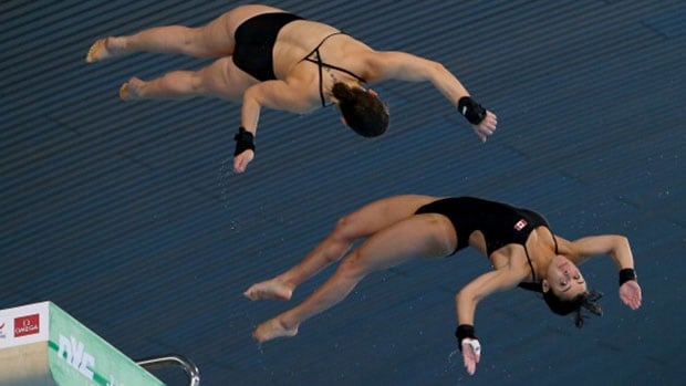 Canadians Meaghan Benfeito, right, and Roselin Filion earned a bronze medal Friday in the Women's 10-metre Synchro Platform final during Day 1 of the FINA/NVC Diving World Series in London, England.