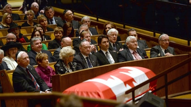 From the left front row, Gov. Gen. David Johnston and wife Sharon, Supreme Court Chief Justice Beverley McLachlin, former prime minister Jean Chrétien, Liberal Leader Justin Trudeau and former prime ministers John Turner and Paul Martin attend the funeral of Herb Gray in Ottawa on Friday.