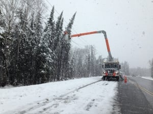 Hydro crews remove tree from power line
