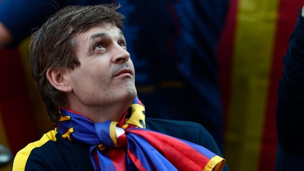 Tito Vilanova is shown during a celebration for Barcelona's 2013 Spanish league title.