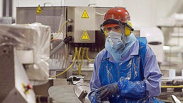 Workplace safety comes in many forms these days. Here a Maple Leaf Foods worker clad in protective clothing sprays down equipment on a food processing line, suspected of being contaminated with listeriosis, in August 2008.