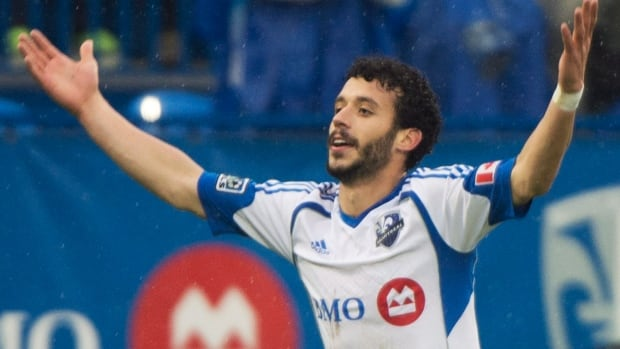 Montreal Impact's Felipe Martins celebrates after scoring against the Philadelphia Union during first half action on Saturday.