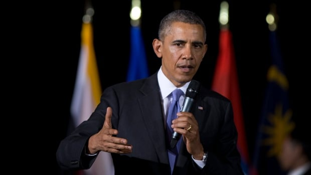 U.S. President Barack Obama, seen speaking during a town hall meeting at Malaya University in Kuala Lumpur, condemned the alleged comments and cast them as part of a larger historical context.