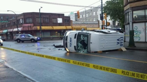 A Vancouver Police Department wagon was flipped onto its side in a collision at the intersection of East Hastings Street and Gore Avenue early Sunday morning. No injuries were reported.