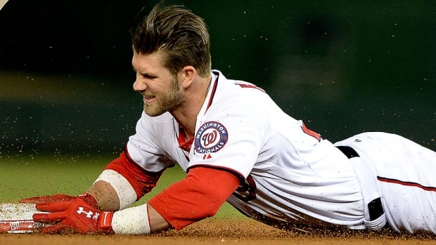 Nationals outfielder Bryce Harper hurt his hand with a head-first slide into third base Friday night after hitting a third-inning, bases-loaded triple in Washington's 11-1 victory over San Diego. On Sunday, he was placed on the 15-day disabled list.