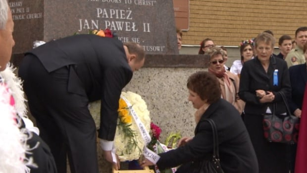 Many in Edmonton's Catholic community visited Holy Rosary Church Sunday to honour John Paul II, who was declared a saint today.