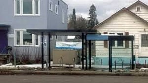 Bus Shelter on Red River Rd in front of Eco Superior