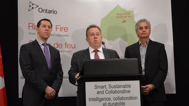 Minister of Natural Resources David Orazietti, Minister of Northern Development and Mines Michael Gravelle, and Minister of Municipal Affairs and Housing Bill Mauro spoke in Thunder Bay on Monday about the province's $1 billion commitment to the Ring of Fire mining project in northern Ontario.