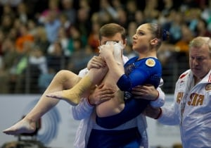 Germany Artistic Gymnastics Mustafina Injured