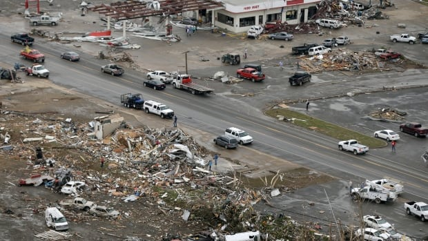 Homes and businesses were flattened in Vilonia, Ark. after a tornado struck the town late Sunday. It's the most powerful tornado so far this year.