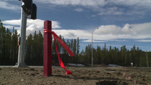 A marker at the Whistle Bend subdivision in Whitehorse. The Yukon government says it will meet with the Yukon Employees Union to discuss the surveying work.