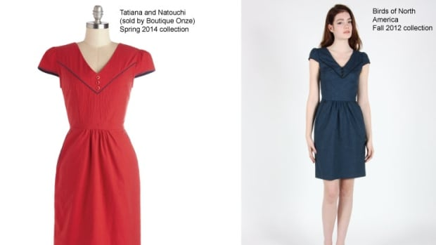 Montreal designer Hayley Gibson says Boutique Onze sold a copy of her dress (left) that looked almost exactly the same as the original (right), except it was a different colour and marked at a lower price.