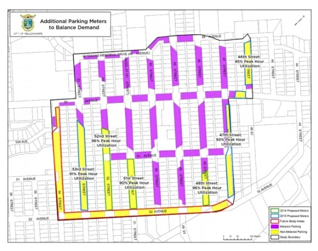 Yellowknife metered parking map