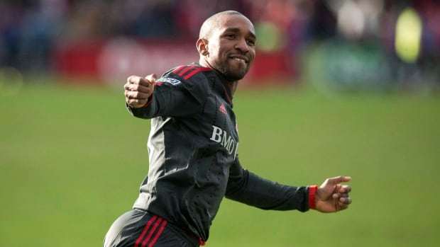 Toronto FC 's Jermain Defoe celebrates after scoring against D.C. United on March 22.