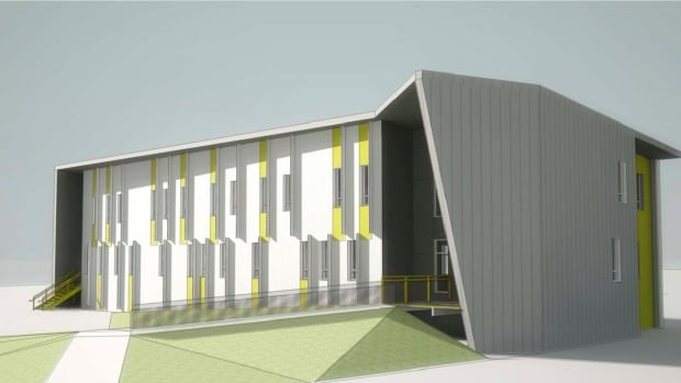 The N.W.T. Housing Corp.'s new building in Inuvik will include solar panels on the roof and window shades. Inside will be 17 open concept one-bedroom apartments for singles and couples.