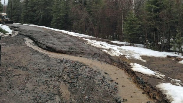 Rain and melting snow is damaging area roads, including Onion Lake Road outside Thunder Bay, pictured here.