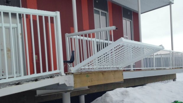 A railing on the deck of the Children First Society's building in Inuvik was damaged over the weekend. It happened just after a Fort McPherson tent was stolen from the daycare's play yard.