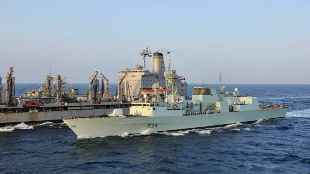 HMCS Regina conducts a replenishment at sea with U.S. naval ship Patuxent in the Gulf of Aden during Operation ARTEMIS on Dec. 4, 2012. The ship will now join the NATO mission in Eastern Europe.