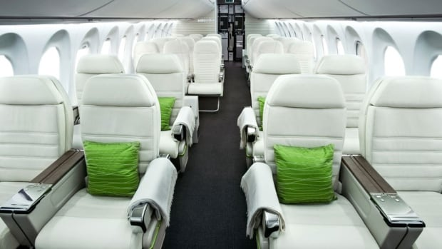 The interior of the much-delayed CSeries jet. Bombardier says it is making progress with its test flights, but investors have doubts.
