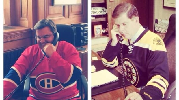 Montreal mayor Denis Coderre and Boston Mayor Marty Walsh bet each other the losing city would fly the other team's flag for a week.