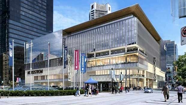 The former Sears building on Granville and Robson streets in downtown Vancouver is being renovated to open as the new home of Nordstom and Microsoft in 2015.