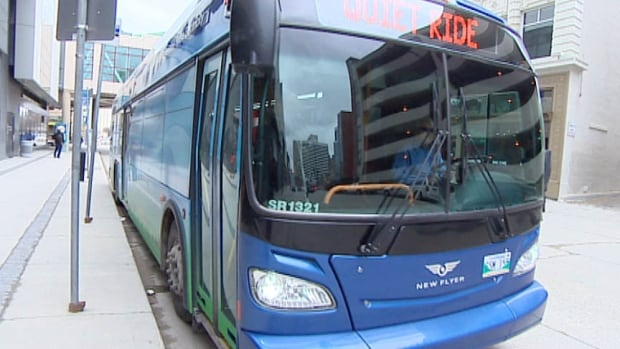 The new electric bus was put on display for media and politicians Friday in Winnipeg.