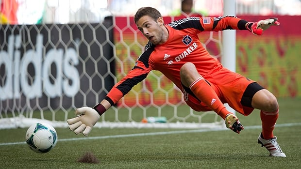 Paolo Tornaghi, shown in this 2013 file photo, will be banned one match by the MLS for coming onto the field of play during the Whitecaps last game against Real Salt Lake.