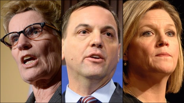 Liberal Leader Kathleen Wynne has promised Ontario resident would have access to a primary care provider by 2018, PC Leader Tim Hudak will cut LHINs and the NDP's Andrea Horwath says she'll cut ER wait times.