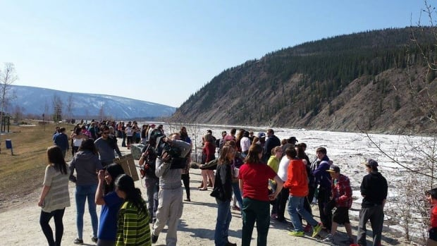 A crowd gathers by the Yukon River in Dawson City to witness the ice on the river break up on May 2, two weeks earlier than last year.