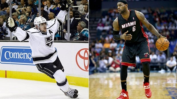 Los Angeles Kings centre Anze Kopitar, left and Miami Heat forward LeBron James are providing spectacular moments during their respective post-seasons.