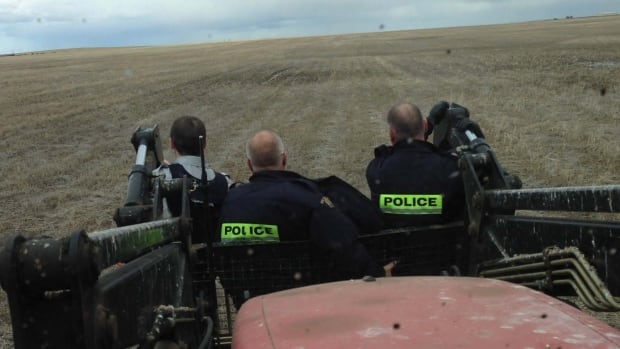 A Briercrest, Sask. area farmer took four RCMP members through the field on his tractor.