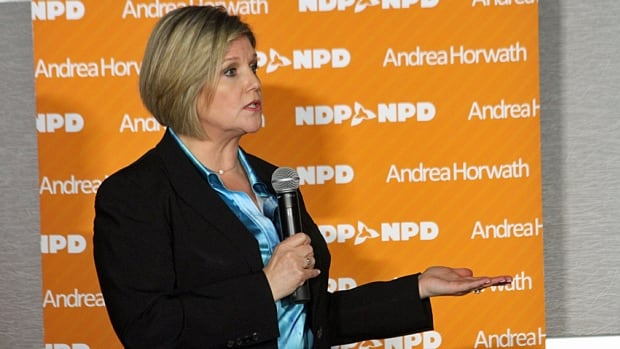 Ontario NDP Leader Andrea Horwath described the NDP as the party of change and responsibility, while calling into question the policies and past of both the Liberals and Progressive Conservatives.